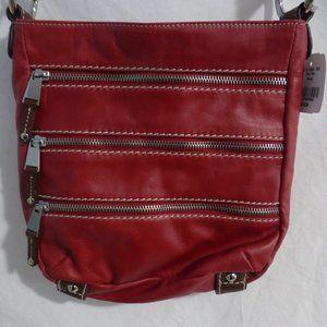 DANIER LEATHER glam red multi zip handbag BNWT